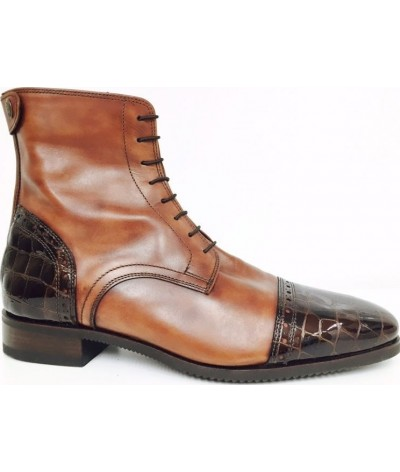 Secchiari Ankle Boots Antique Brown and Croc