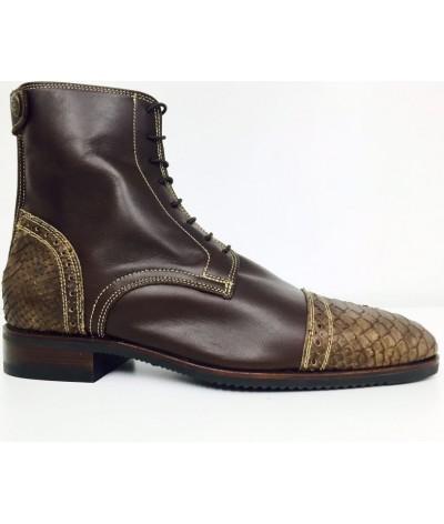 Secchiari Ankle Boots Brown Snakeskin Gold