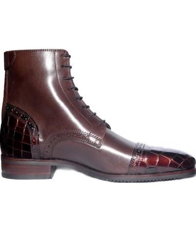 Secchiari Ankle Boots Brown Patent Toe And Heel
